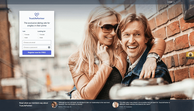 True Life Partner Home Page, a  happy couple hug and smiles while enjoying each other company