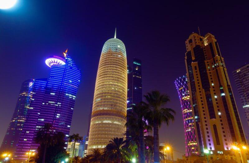 Qatar Doha Tower by night