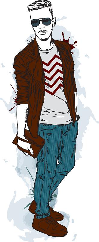 watercolor of a fuckboy in sunglasses