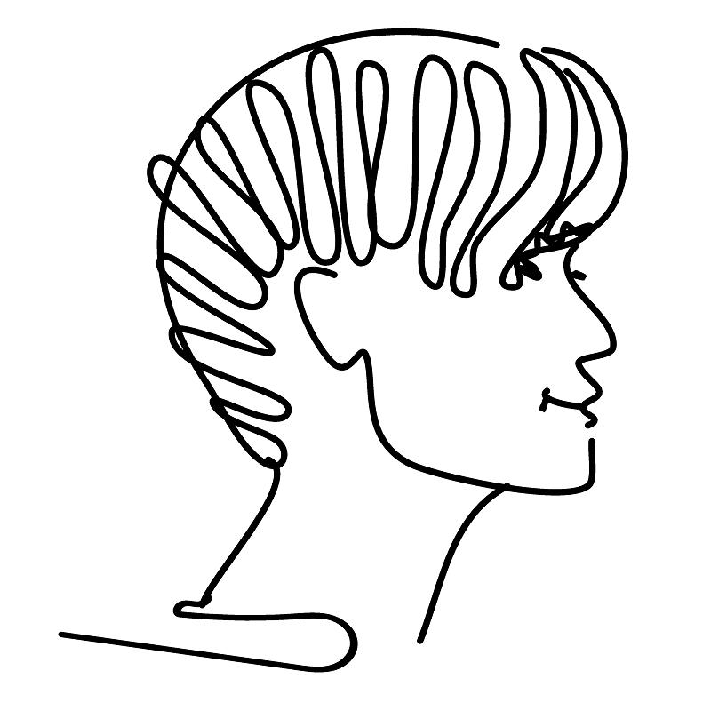 black line profile drawing of a soft fuckboy
