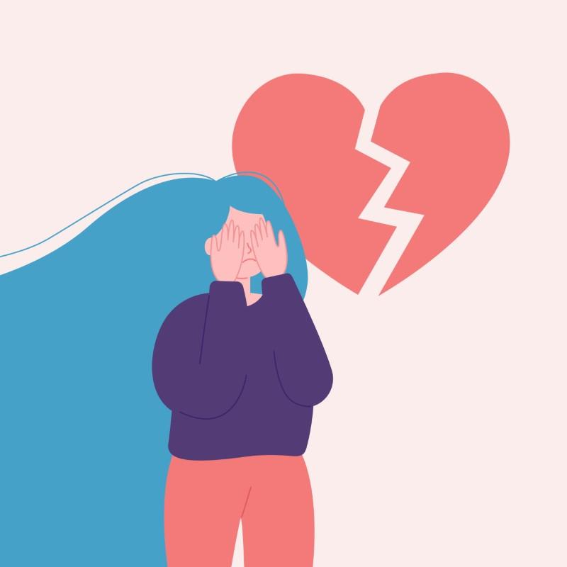 illustration of broken hearted girl hiding her face behind her hands